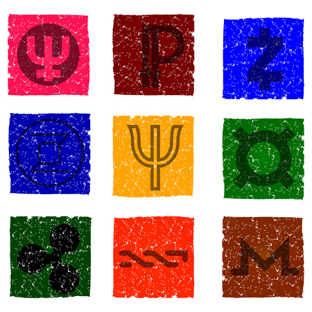 Vector illustration of multicolored grunge icons with symbols of various digital electronic currencies - primecoin, ripple, nxt, zcash, monero, zerocoin, peercoin.