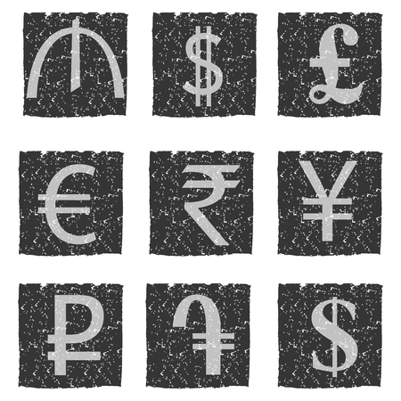 Vector illustration of black and white grunge icons with symbols of various currencies, for exchange office. Illustration