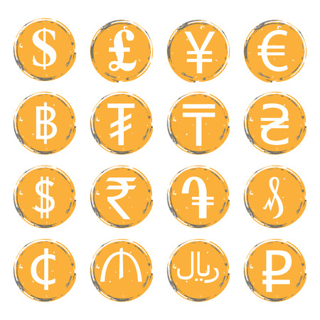 Sixteen yellow-gray vector grunge icons with white images of modern currency symbols of various countries, for exchange offices.