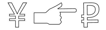 Vector lineare Ikone mit dem Bild einer Hand mit einem ausgedehnten Zeigefinger, der die Weise des Austausches des Yens für den Rubel anzeigt.