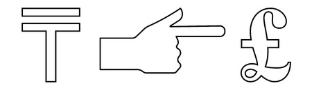 Vector linear icon with a picture of a hand with an extended index finger indicating the exchange of tenge per pound.