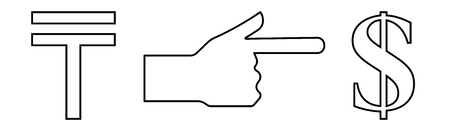 Vector linear icon with a picture of a hand with an extended index finger indicating the exchange of tenge per dollar. Ilustração