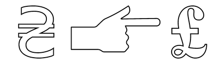 Vector linear icon with a picture of a hand with an extended index finger indicating the exchange of hryvnia per pound.