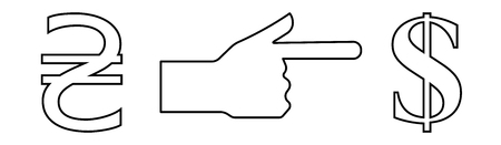 Vector linear icon with the image of the hand with an extended index finger indicating the exchange of the hryvnia to the dollar.
