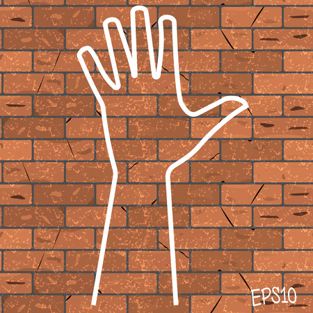 Vector illustration of a drawn chalk on a brown brick wall outline bunch of five.