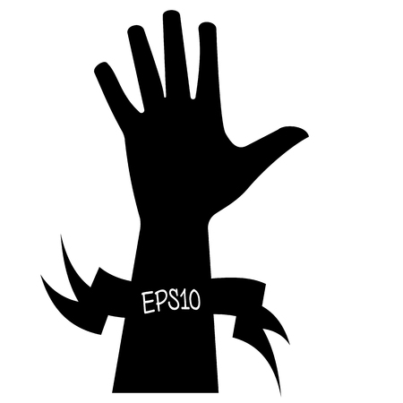 Vector illustration of a black silhouette of bunch of fives with a ribbon for writing on a white background. Illustration