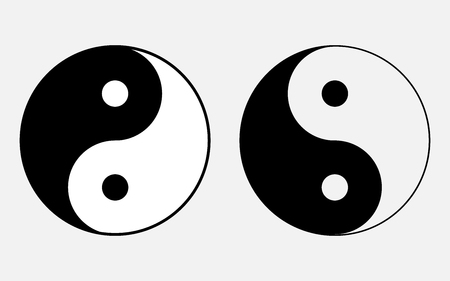 confucius: Vector illustration of the sign of Chinese philosophy of the symbol of Confucianism, icons symbolizing the unity of Yin and Yang began.