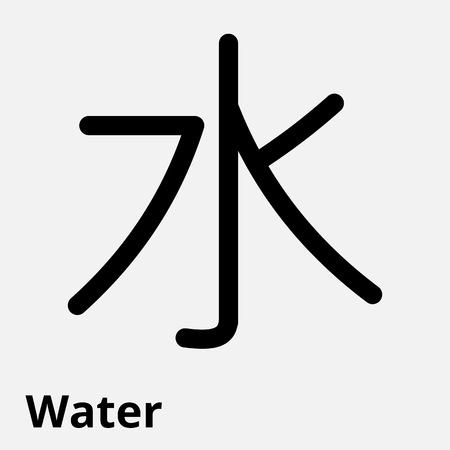 Vector illustration of the sign of Chinese philosophy of the symbol of Confucianism, line icon water.