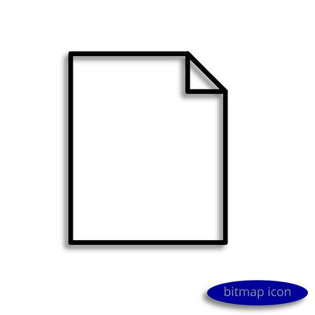 A blank sheet of paper with a curved corner casting a shadow, a graphic bitmap linear icon.
