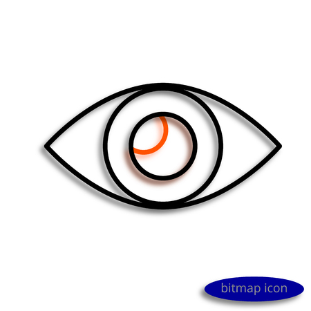 attentiveness: Eye drawn by lines casting shadow, graphic bitmap linear icon. Stock Photo