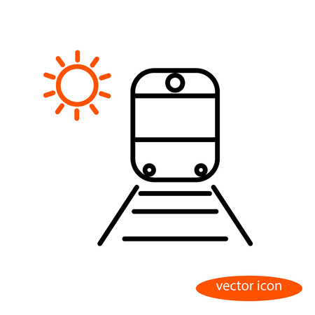 sleepers: Simple vector image of a train on rails with sleepers and orange sun, a flat line icon for a travel agency. Illustration