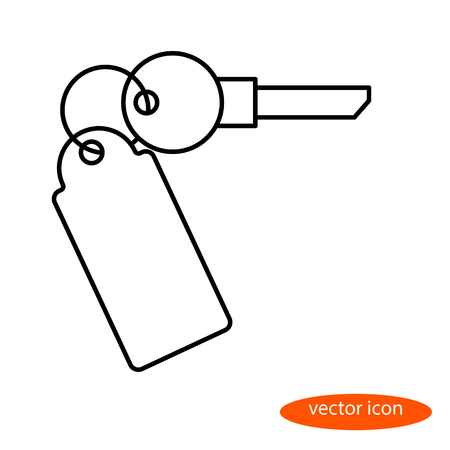 A simple linear image of a key from an apartment or car with a key fob, a flat line icon for a web site.