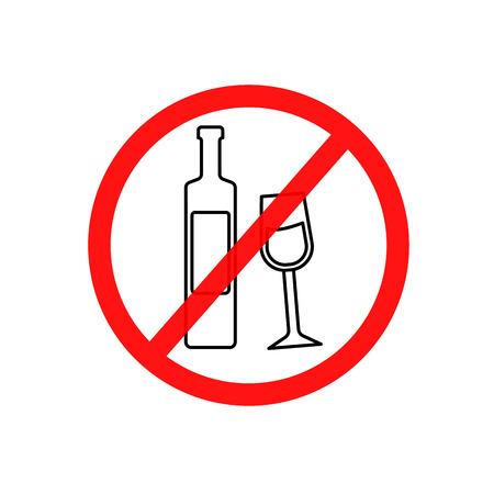 vino: Simple vector illustration of a prohibitory sign drinking a spirits, a flat line icon.