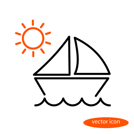 A simple vector linear illustration of a landscape with a sailing vessel floating on the waves and orange sun, a flat line icon. Illustration