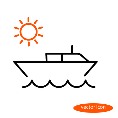 Simple vector line illustration of a small water boat jumping over the sea and the orange sun at sunrise, a flat linear icon. Illustration