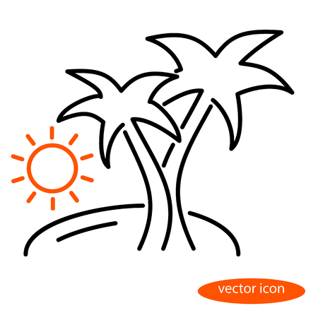 Simple vector linear illustration of a landscape with an island, palms and sun at sunset or sunrise, a flat line icon.