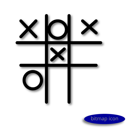 zeros: Simple  linear image of a child street play crosses - zeros, line icon, flat style Stock Photo