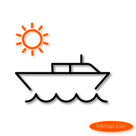 beach party: Simple  line illustration of a small water boat jumping over the sea and the orange sun at sunrise, a flat linear icon. Stock Photo