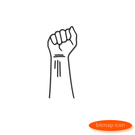 Illustration by a shadow casting line depicting a compressed fist, a flat line icon for a website, banner, poster.