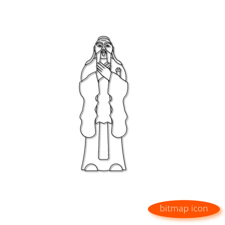 A simple illustration of a line casting a shadow representing a symbol of Chinese philosophy - a scientist and teacher of Confucius, a flat line icon for a website, banner, poster.
