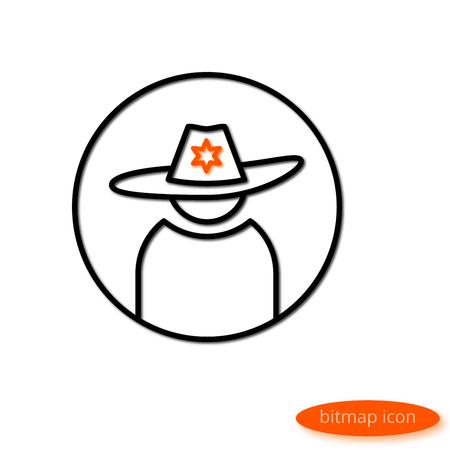 gorra policía: Una simple ilustración de una línea de proyección de sombras dibujando una silueta de hombres en un sombrero con un símbolo de potencia, un icono de línea plana para un sitio web, una pancarta, un póster.