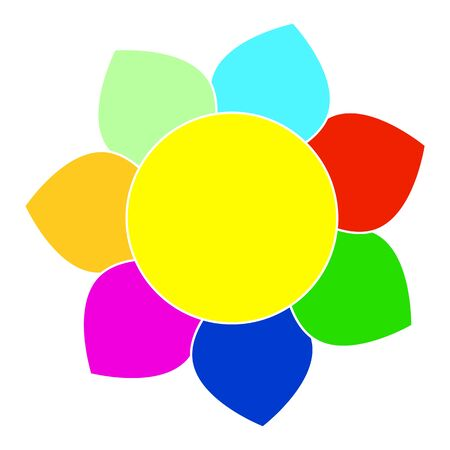 Vector picture of a fairy flower with seven multicolored petals, flat style.