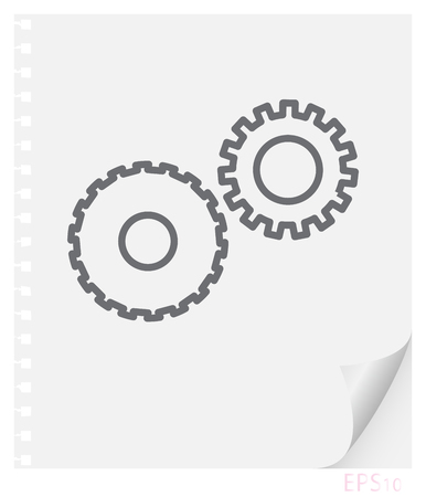 Vector linear illustration of mechanical gears on a piece of paper with a curved corner and holes from springs, school line icon. Illustration