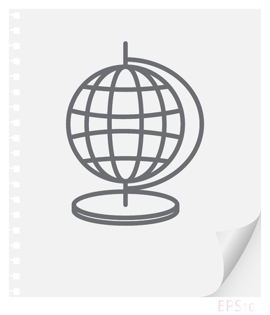 Vector linear illustration of an educational globe on a sheet of paper with a curved corner and holes from springs, a school line icon.