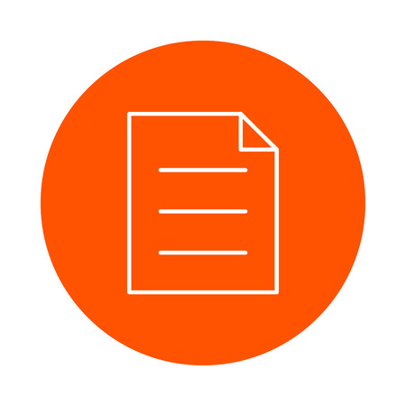 paragraphs: A sheet of paper with a curved corner and three paragraphs of text, a vector round icon, a flat style. Illustration