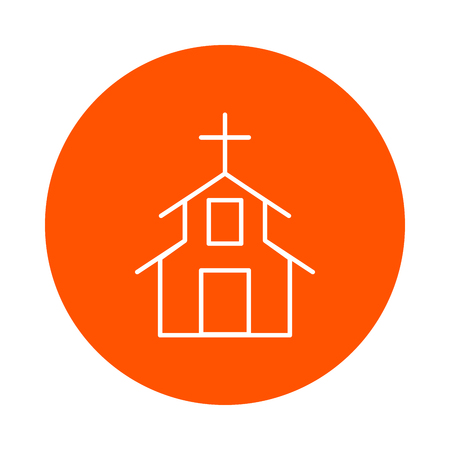 Religious construction with a Christian cross on the roof, vector round monochrome icon, flat style. 向量圖像