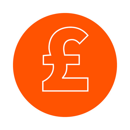 Pound symbol, vector monochrome round icon, flat style
