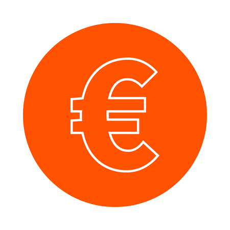 Symbol of euro european currency, vector monochrome round icon, flat style Illustration