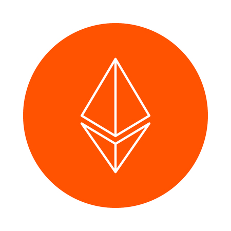Stylized symbol of the ethereum crypto currency, vector monochrome round icon, flat style