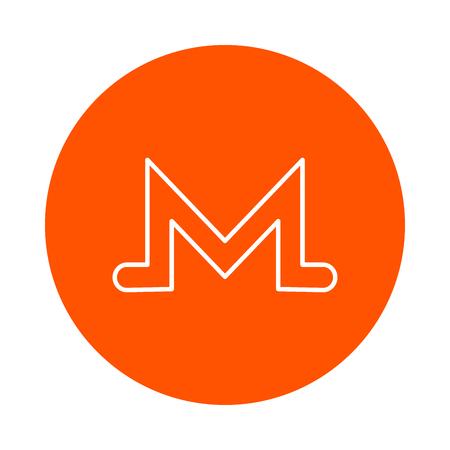 Symbol of digital crypto currency Monero, vector monochrome round icon. Illustration