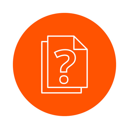 Stack of paper with a question mark, a virtual monochrome round icon