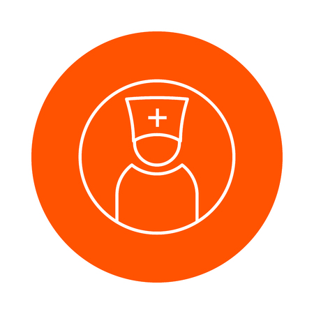 orthodoxy: Priest or doctor in head-dress with cross, vector single-colored round linear icon.