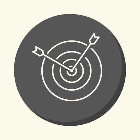 Two arrows sticking out from the center of the target, a vector circular linear icon with the illusion of volume.