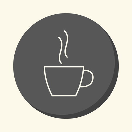 Cup of hot drink - coffee or tea, vector round linear icon with an illusion of volume