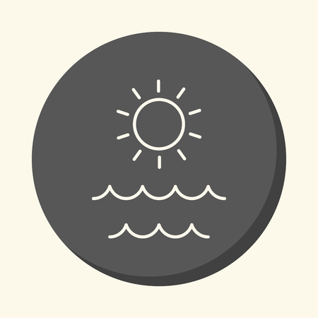 Sea and sun, vector round linear icon with the illusion of volume