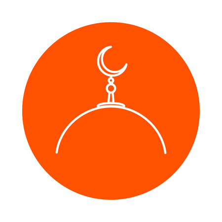 Dome of a mosque with a crescent on a spire, vector round monochrome line icon Illustration