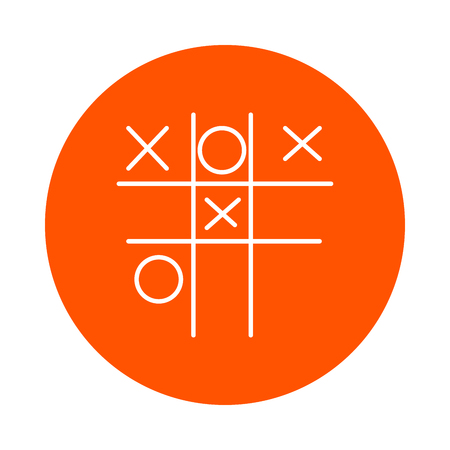Childrens game - Tic-tac-toe, vector monochrome round line icon for your website or booklet, flat style