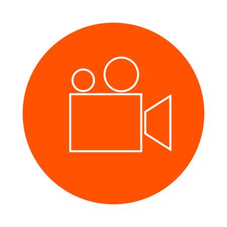 Filmcamera of filmprojector, zwart-wit ronde lijn icoon voor uw website of boekje, platte stijl Stock Illustratie
