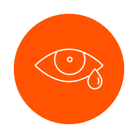 sobbing: Eye and tear, vector monochrome round linear icon for your website or booklet, flat style