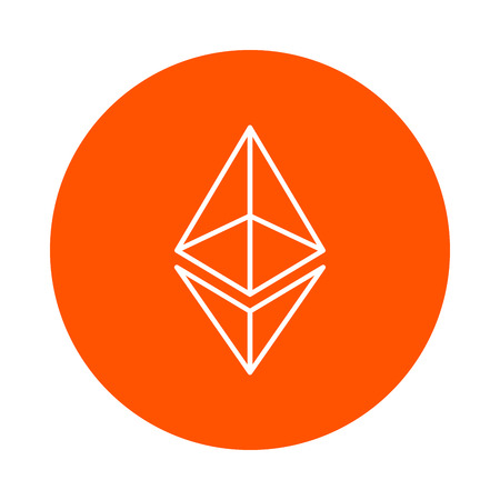 Vector modified symbol of digital crypto currency Etneryum, monochrome round linear icon, simple color change Illustration