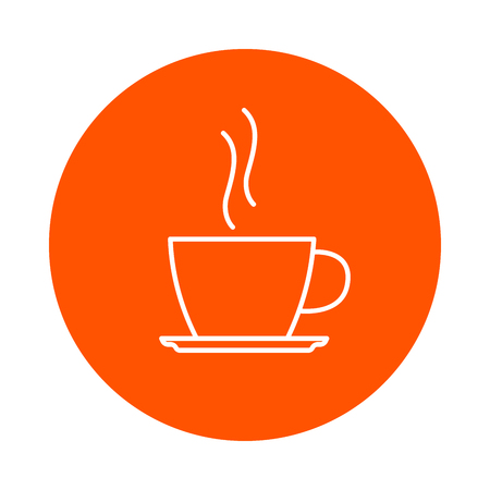 Cup with hot coffee on a saucer, vector round line icon, flat style, simple color change