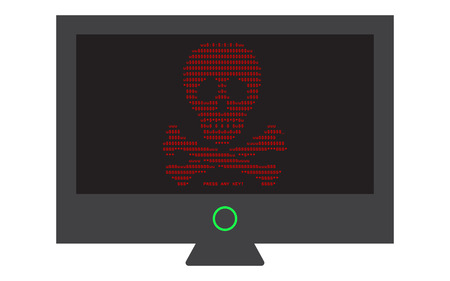 Virus attack on computer monitor screen, urgent shutdown, vector clip art Ilustrace