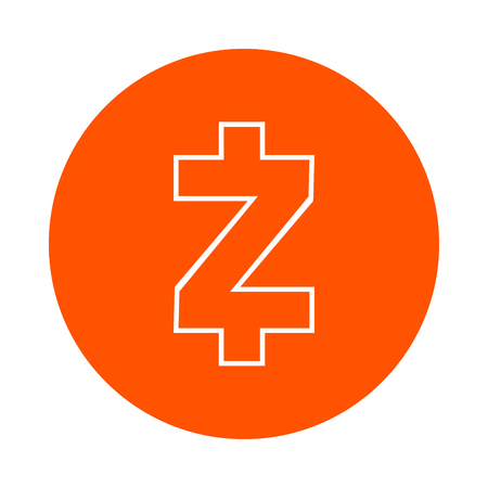 Symbol of the digital crypto currency Zcash, monochrome round line icon, flat style, simple color change