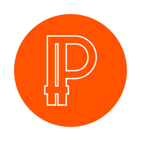 Symbol of digital crypto currency Peercoin, monochrome round linear icon, flat style, simple color change