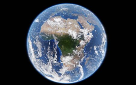 3d rendering image of planet earth from space, details of planet earth view of Africa,