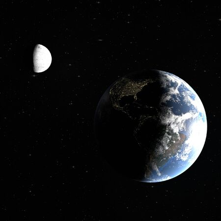 3d rendering of the planet earth with the night cities of America and the moon, partially illuminated by the sun, the elements are furnished by NASA